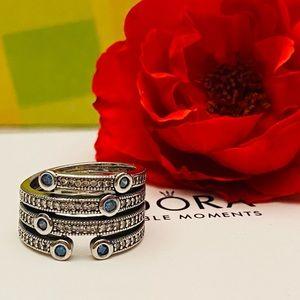 Pandora shimmering blue ring size 6